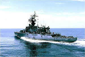 USS McCloy (DE-1038) underway off Guantanamo Bay, Cuba, in June 1968