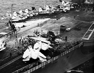 USS Nimitz - Wreck of an EA-6B Prowler after it crashed during a night landing, 1981