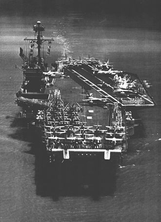 USS Ranger (CV-61) - Ranger comes alongside at Pearl Harbor in March 1962 at the end of a WESTPAC cruise