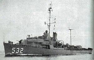 USS Tweedy (DE-532) underway at sea, circa in 1957.jpg
