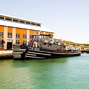 Wanamassa (YTB-820) - Wanamassa, moored at Pier Tango, Guantanamo, on 1 April 2015, when she was one of the last five tugs of her class to remain in service
