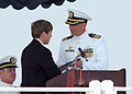 US Navy 060525-N-2491R-100 Jacksonville, Florida Mayor, the Honorable John Peyton, presents the key to the city to the guided-missile submarine USS Florida (SSGN 728) commanding officer, during her return to service ceremony.jpg