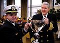 US Navy 070405-N-1688B-041 Chief Warrant Officer Thomas Wain Cummings, left, food service officer, receives the Captain Edward F. Ney Memorial Award for Food Service Excellence.jpg