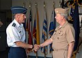 US Navy 071129-N-5677B-004 Air Force Lt. Gen. Norman R. Seip, commander of 12th Air Force and Air Forces Southern, Davis-Monthan Air Force Base, Arizona, speaks with Rear Adm. James W. Stevenson Jr., commander of U.S. Naval For.jpg