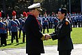 US Navy 081019-N-8273J-223 Chief of Naval Operations (CNO) Adm. Gary Roughead, left, is presented the Bob Hope Five Star Award for Distinguished Service to America from Valley Forge Military Academy and College.jpg