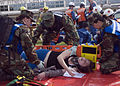 US Navy 081106-N-0483B-003 Hospital corpsmen assigned to U.S Naval Hospital Yokosuka prepare to transport a simulated victim during a joint mass casualty exercise at Fleet Activities Yokosuka.jpg