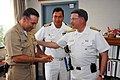 US Navy 090716-N-8732C-095 Adm. Guillermo Enrique Barrera Hurtado, commander of the Colombian National Navy, right, meets with Naval Support Activity Washington assistant public works officer Lt. Reuben Chonna at U.S. Coast Gua.jpg