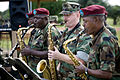 US Navy 091018-O-XXXXV-093 Musician 2nd Class Jason Stark, a member of the Commander, U.S. Naval Forces Europe rock band, Flagship, performs with members of the Armed Forces of Liberia band.jpg