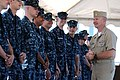 US Navy 100730-N-9818V-086 Master Chief Petty Officer of the Navy (MCPON) Rick West talks with Sailors assigned to (PCU) Missouri (SSN 780).jpg