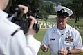 US Navy 110613-N-AD372-342 Master Chief Petty Officer of the Navy (MCPON) Rick D. West is interviewed before a wreath laying ceremony at Chattanoog.jpg