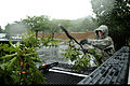 US Navy 110827-F-ZE674-122 Senior Airman Joshua Garner cleans up tree branches that were knocked loose during heavy rains and winds from Hurricane.jpg