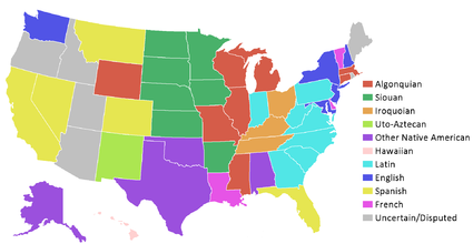 List Of State Name Etymologies Of The United States Wikipedia - United states map in spanish