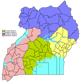 Regions of Uganda - Regions of Uganda (with district borders as they were in 2006)