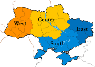Kyiv International Institute of Sociology (KIIS) geographic division of Ukraine used in their polls. Ukraine KIIS-Regional-division2.png