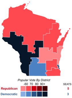 United States House of Representatives elections in Wisconsin, 2016 results by district.png