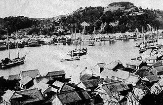 Uraga, Kanagawa - The harbour of Uraga circa 1890
