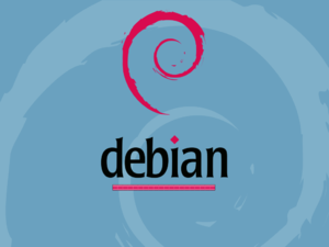 Screenshot of Debian booting using Usplash