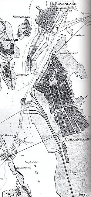 Maly Vysotsky Island - Finnish map of the Vysotsk area (Uuras) with Malyj Vysotskij (Ravansaari) at the top