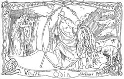 Völva, Odin, Sleipnir and Helhound by Frølich.jpg