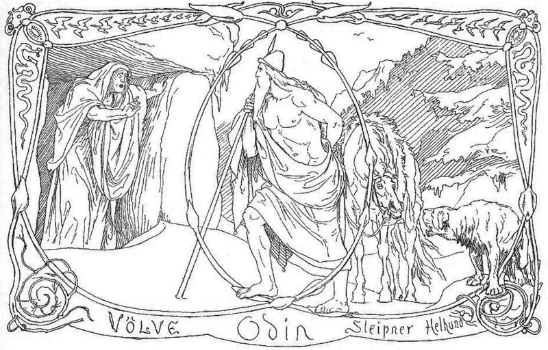 Bestand:Völva, Odin, Sleipnir and Helhound by Frølich.jpg