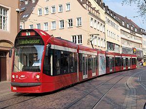 Trams in Freiburg im Breisgau - A Landwasser-bound tram in Freiburg.