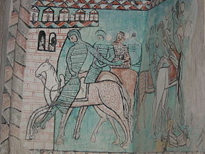 Mural paintings of the conquest of Majorca -  Detail of a mural conserved in the monastery of Santa María de Valbuena