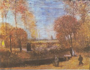 The rectory garden in Nuenen with Pond and Figures