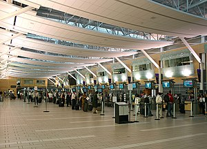 Vancouver International Airport - Air Canada domestic check-in facilities at the Domestic Terminal.