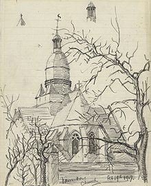 Vauvillers Church, February 19th 1917 Art.IWMART4871.jpg