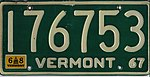Vermont 1968 license plate - Number 176753.jpg