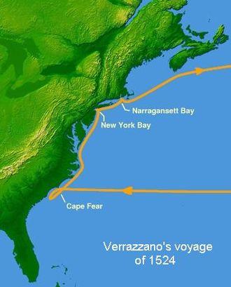 France–Americas relations - Giovanni da Verrazzano's voyage in 1524.