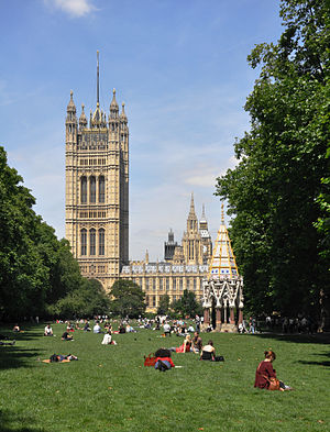 Victoria Tower Gardens - Victoria Tower Gardens, 2011, with the Buxton Memorial Fountain and the Palace of Westminster in the background
