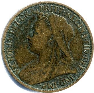 Farthing (British coin) - Image: Victorianewfarthingo bv