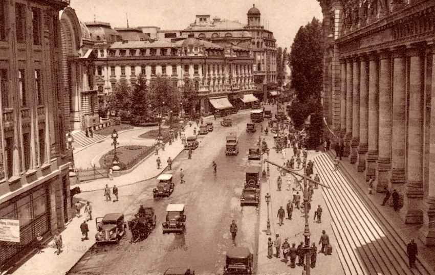 Victory boulevard near Post Palace Bucharest Romania