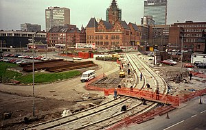 Timeline of Manchester Metrolink - Metrolink under construction in 1991, as viewed from Manchester Piccadilly Station