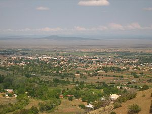 View of Taos, NM from mountain trail Picture 2000.jpg