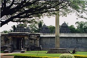 View of trikuta (three towers) from outside the Chennakeshava temple at Somanathapura.jpg