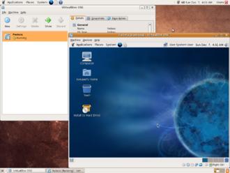 Full virtualization - Screenshot of one virtualization environment