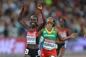 2015 World Championships in Athletics – Women's 10,000 metres - Victorious Vivian Cheruiyot ahead of Gelete Burka