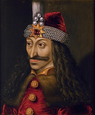 Vlad the Impaler - Ambras Castle portrait of Vlad III (c. 1560), reputedly a copy of an original made during his lifetime