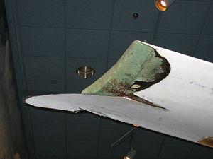 Rutan Voyager - Damaged left wingtip