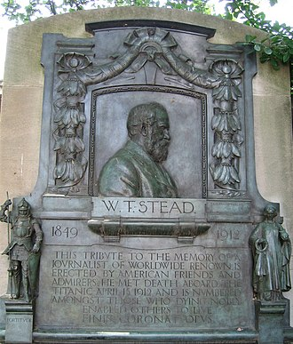W. T. Stead - Memorial plaque in Central Park, New York. A similar plaque, with a different inscription, is displayed on Victoria Embankment, London