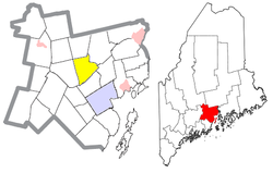 Location of Brooks (in yellow) in Waldo County and the state of Maine