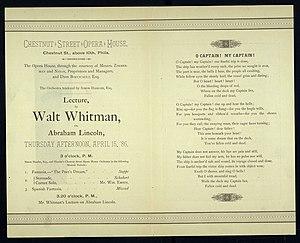 O Captain! My Captain! - Whitman's lecture on Lincoln, invitation, 1886