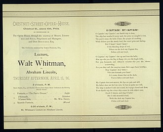 O Captain! My Captain! - Whitman's lecture on Lincoln, invitation, 1886