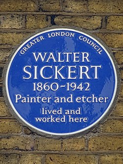 Photo of Walter Sickert blue plaque