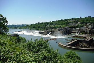Willamette Falls - The falls in 2009 from the east with West Linn in the background