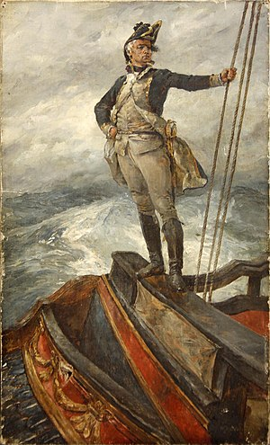 Taffrail - Image: William Heysmann Overend Naval Captain on the Poop deck taffrail