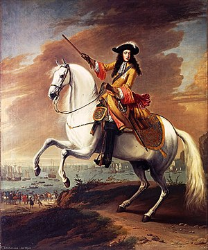 1688 in England - Glorious Revolution: Equestrian portrait of William III by Jan Wyck, commemorating his landing in Torbay