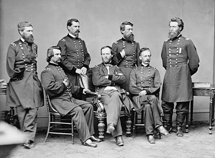 General Sherman with Generals Howard, Logan, Hazen, Davis, Slocum, and Mower, photographed by Mathew Brady, May 1865 William Tecumseh Sherman and staff - Brady-Handy.jpg